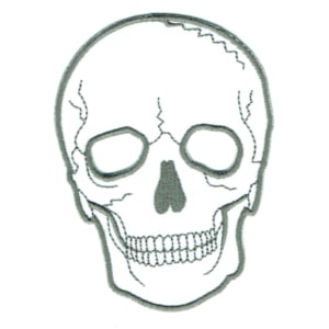 Iron on embroidered white death skull patch