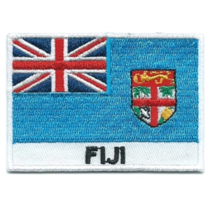 Embroidered iron on national flag of Falkland Islands with name text.