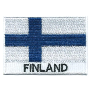 Embroidered iron on national flag of Finland with name text.
