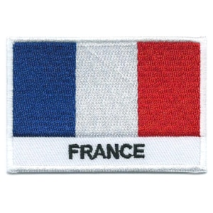 Embroidered iron on national flag of France with name text.