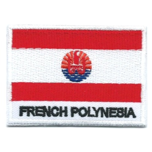 Embroidered iron on national flag of French Polynesia with name text.
