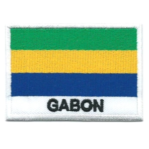 Embroidered iron on national flag of Gabon with name text.