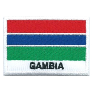Embroidered iron on national flag of The Gambia with name text.