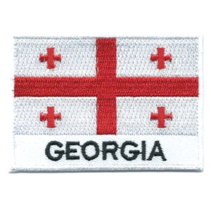 Embroidered iron on national flag of Georgia with name text.