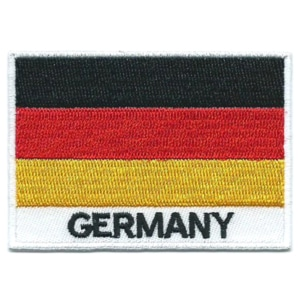 Embroidered iron on national flag of Germany with name text.