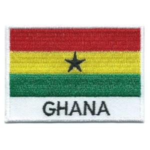 Embroidered iron on national flag of Ghana with name text.