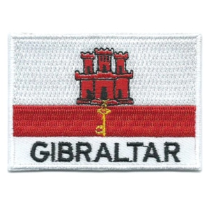 Embroidered iron on national flag of Gibraltar with name text.