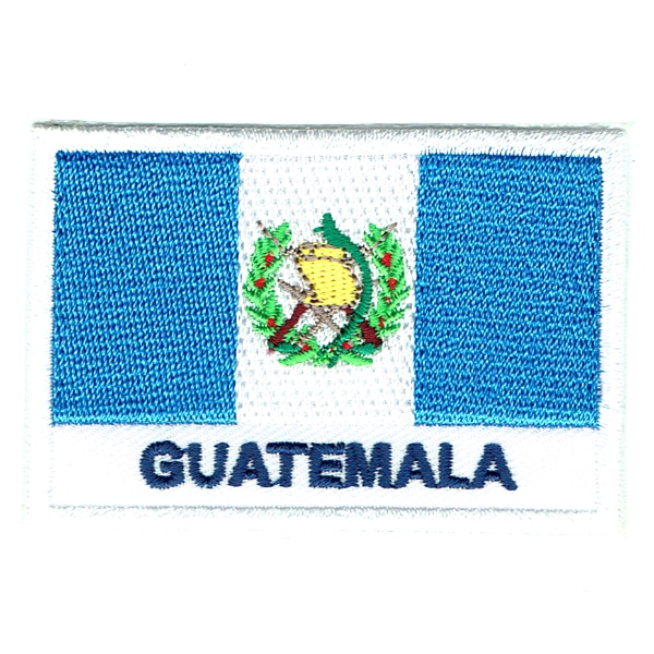 Embroidered iron on national flag of Guatemala with name text.
