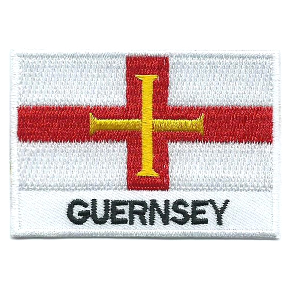 Embroidered iron on national flag of Guernsey with name text.