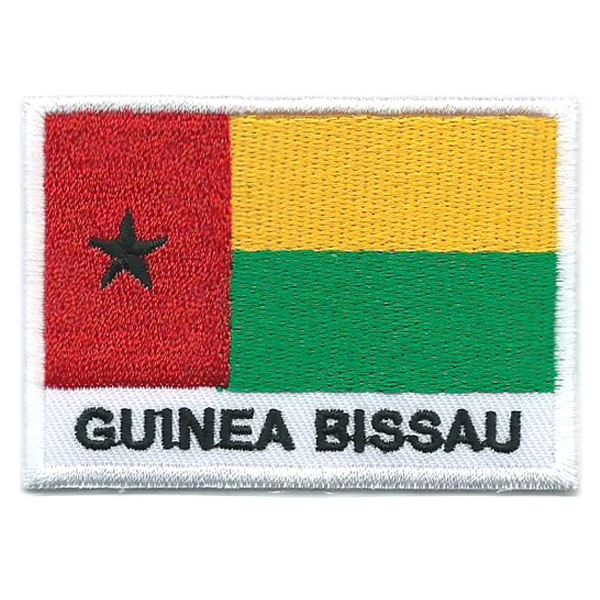 Embroidered iron on national flag of Guinea Bissau with name text.