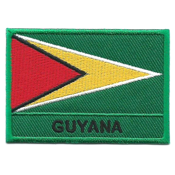 Embroidered iron on national flag of Guyana with name text.
