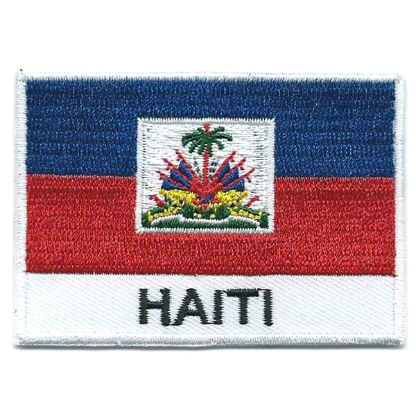 Embroidered iron on national flag of Haiti with name text.