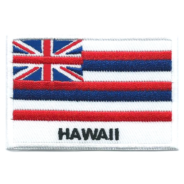 Embroidered iron on state flag of Hawaii with name text