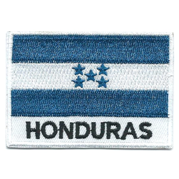 Embroidered iron on national flag of Honduras with name text.