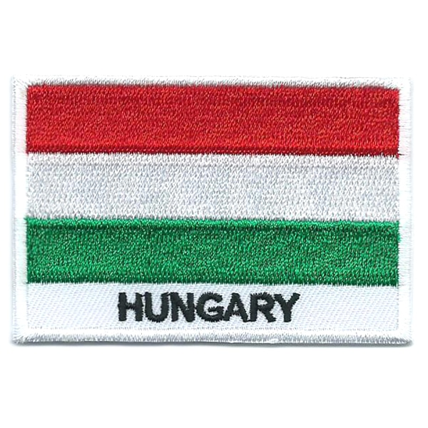 Embroidered iron on national flag of Hungary with name text.