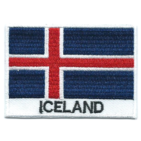 Embroidered iron on national flag of Iceland with name text.