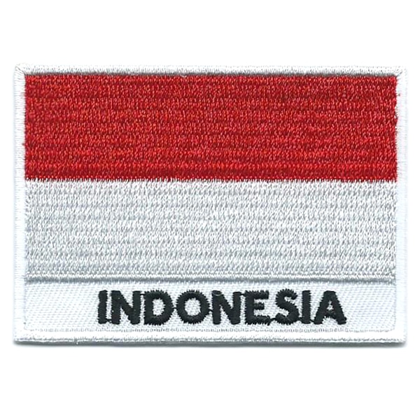 Embroidered iron on national flag of Indonesia with name text.