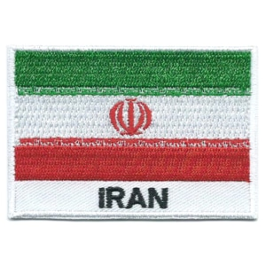 Embroidered iron on national flag of Iran with name text.