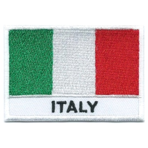 Embroidered iron on national flag of Italy with name text