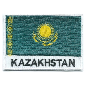 Embroidered iron on national flag of Kazakhstan with name text.