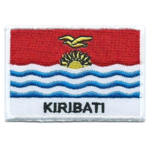 Embroidered iron on national flag of Kiribati with name text.
