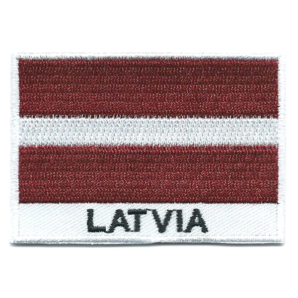 Embroidered iron on national flag of Latvia with name text.