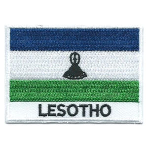 Embroidered iron on national flag of Lesotho with name text.
