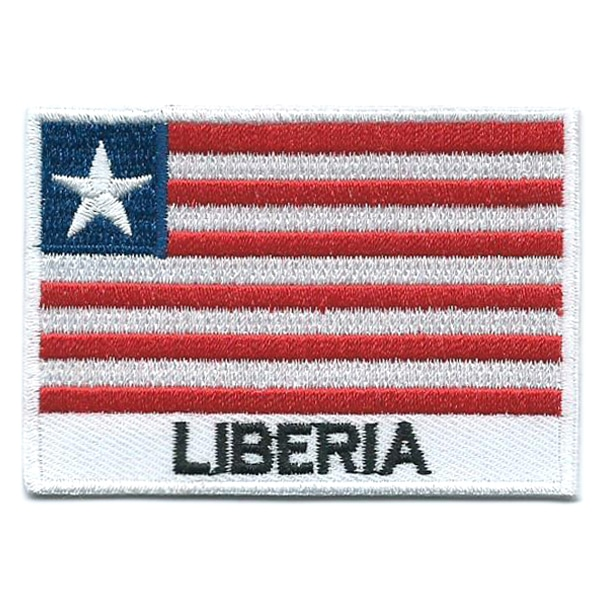 Embroidered iron on national flag of Liberia with name text.