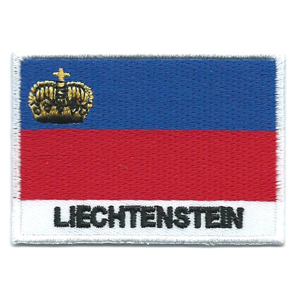 Embroidered iron on national flag of Liechtenstein with name text.