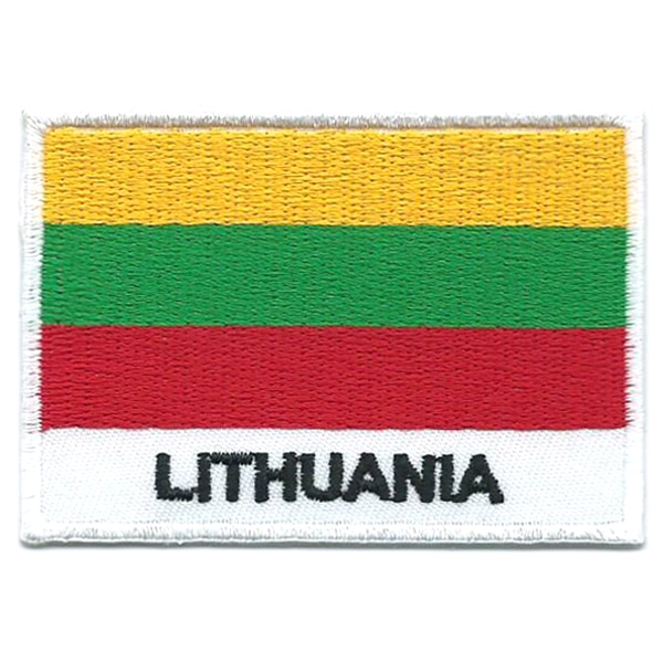 Embroidered iron on national flag of Lithuania with name text.