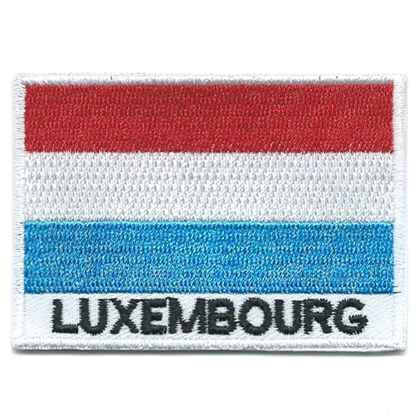 Embroidered iron on national flag of Luxembourg with name text.
