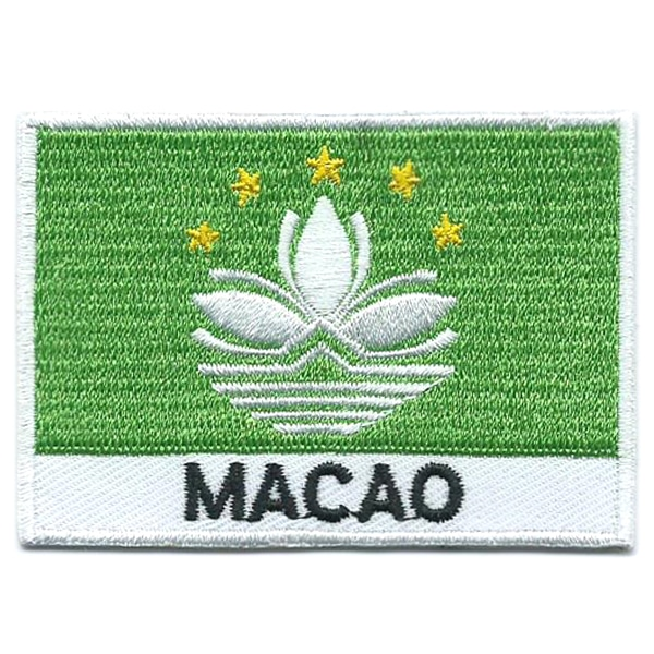 Embroidered iron on national flag of Macao with name text.