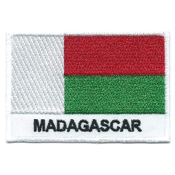 Embroidered iron on national flag of Madagascar with name text.