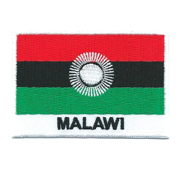 Embroidered iron on national flag of Malawi with name text.