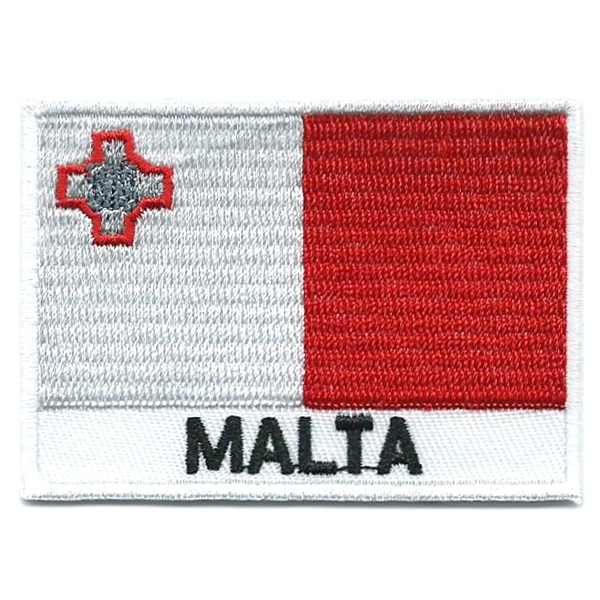 Embroidered iron on national flag of Malta with name text.