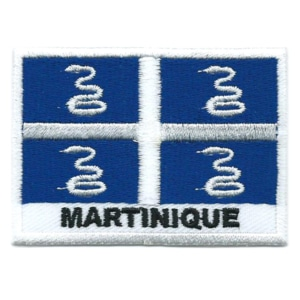 Embroidered iron on national flag of Martinique with name text.