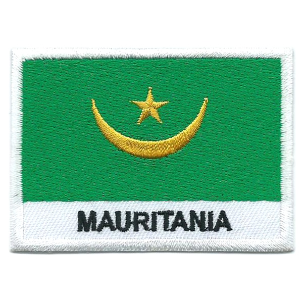 Embroidered iron on national flag of Mauritania with name text.