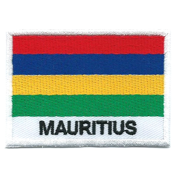Embroidered iron on national flag of Mauritius with name text.