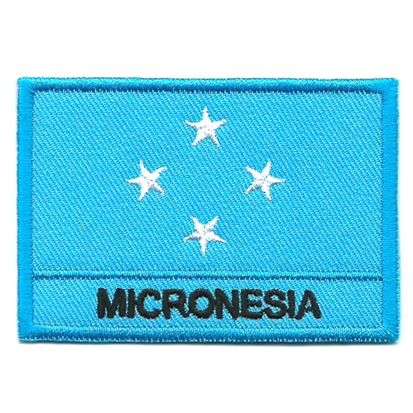 Embroidered iron on national flag of Micronesia with name text