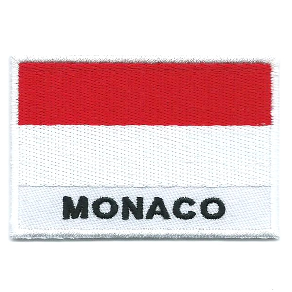 Embroidered iron on national flag of Monaco with name text.