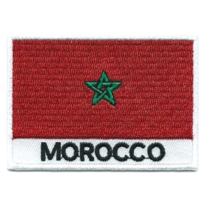 Embroidered iron on national flag of Morocco with name text.