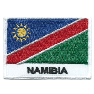 Embroidered iron on national flag of Namibia with name text.