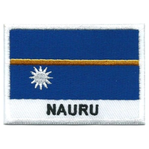 Embroidered iron on national flag of Nauru with name text.