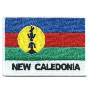 Embroidered iron on national flag of New Caledonia with name text.