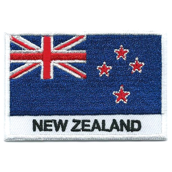 Embroidered iron on national flag of New Zealand with name text.