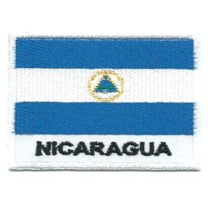 Embroidered iron on national flag of Nicaragua with name text.