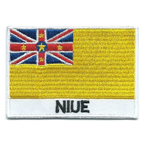 Embroidered iron on national flag of Niue with name text