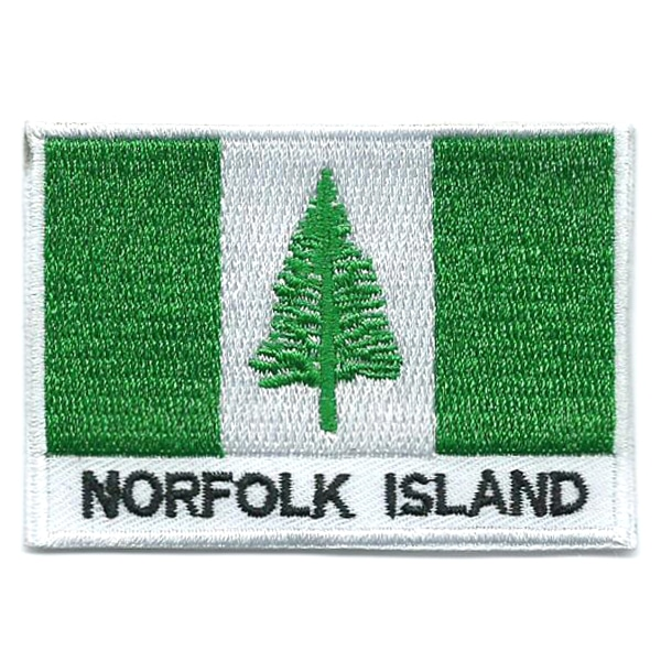 Embroidered iron on flag of Norfolk Island with name text.