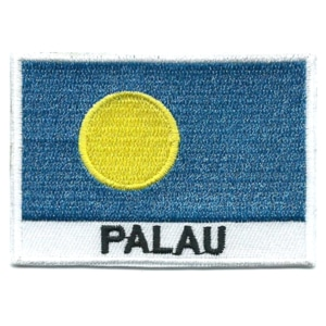 Embroidered iron on national flag of Palau with name text.