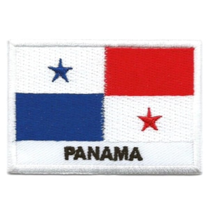 Embroidered iron on national flag of Panama with name text.